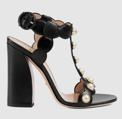 The Pearl Collection T-Strap Chunky Heel Sandals