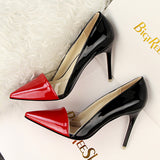 Transparent Patchwork Red Bottom Two Tone Stiletto High Heels Pumps
