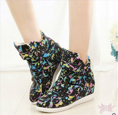 Isabel Floral Casual Lace-Up Platform Wedge High top Sneakers