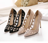 Suede Hollow Mesh Pumps