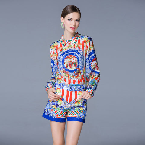 The Runway Collection Long Sleeves Vintage Printed 2 Piece Set Top and Shorts