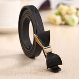 Vegan Leather Bow Slim Belt