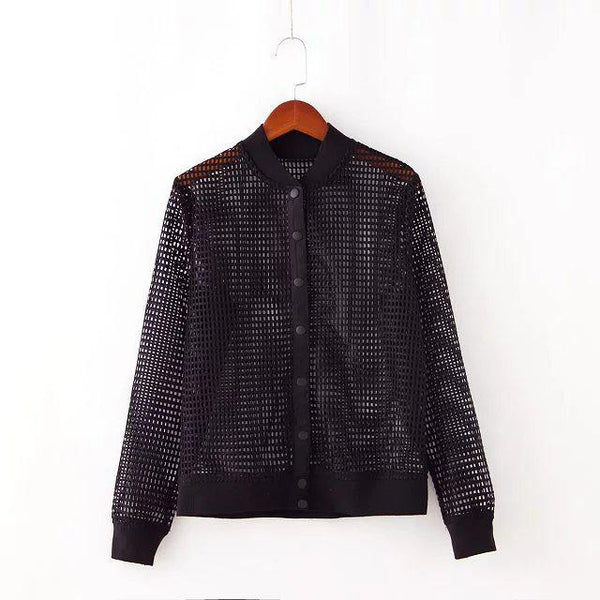 See Through Hollow Out Lattice Perspective Bomber Jacket
