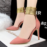 Gold Straps Ankle Wrap Pumps