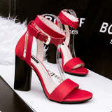 Roman Style Thick Heeled Ankle Strap Heels