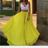 Bohomenian Yellow Pleated Floor-Length Chiffon Maxi Skirt