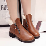 Fur and PU Leather Plush Ankle Boots