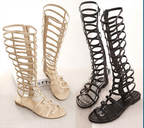 Knee High Gladiator Flat Sandals