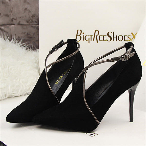 Vintage Stiletto Cross Buckle Pumps