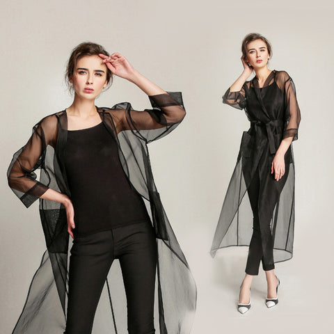 3/4 Sleeve See Through Transparent Organza Trench Coat