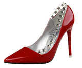 Patent Leather Red Bottom Rivets High Heel Pumps