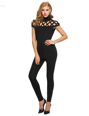 High Neck Cut Out Bandage Jumpsuit