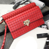 Genuine Leather Studded Rivet Clutch Bag