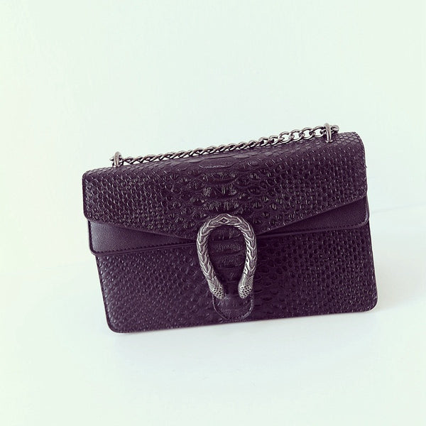 Snake and Chain Vegan Leather Crossbody Bag