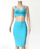 2 Pieces Set  Crop Top + Knee Length Bandage Set