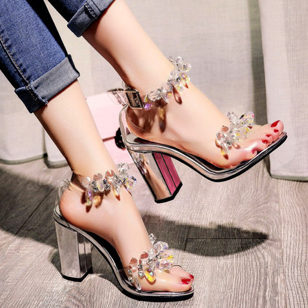 Transparent Chunky Heel Crystal Sandals