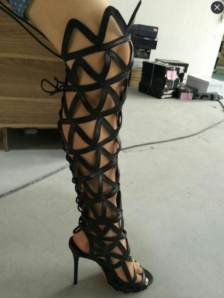 Cut Outs Over The Knee Gladiator Heels