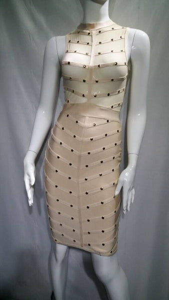 Studded High Neck Mesh Bandage Dress