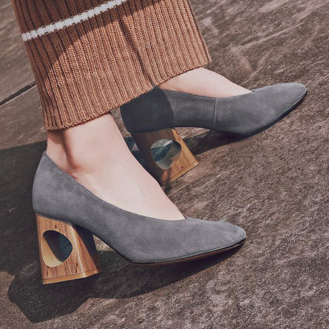 Genuine Leather Wooden Heel Block Heels