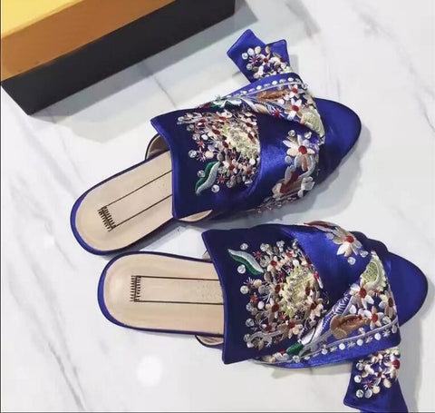 Luxury Crystals and Silk Embroidery Bowtie Slippers