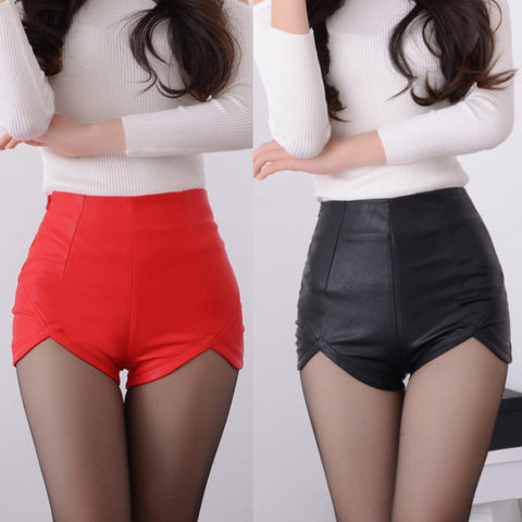 Vegan Leather High Waist Slim Shorts