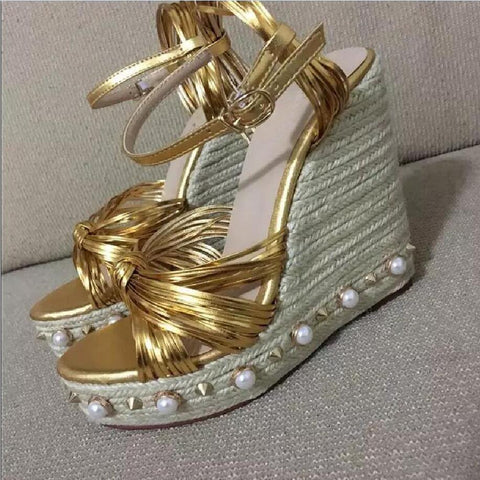 Genuine Leather Gold and Pearls Sky High Wedge Sandals