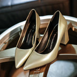 Patent Leather Block Heel Pumps