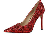 Steel Heeled Glitter Pumps