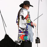 Graffiti Splicing Cowboy Knee Length Denim Jacket