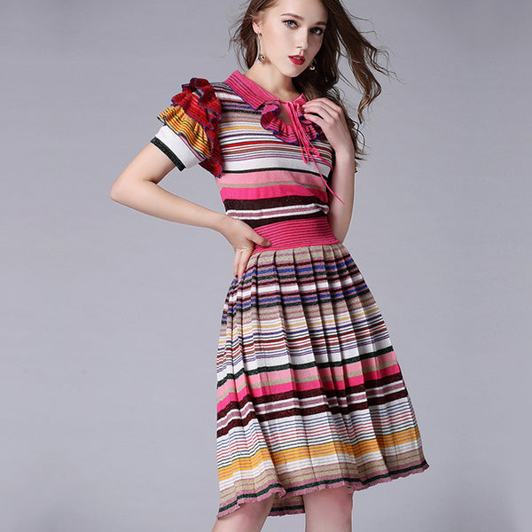 Bold Stripes Pleated Two Piece Skirt and Shirt Set