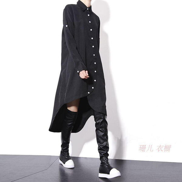 Asymmetric Hem Chiffon Shirt Dress