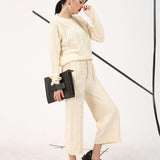 Ankle Length O-Neck Cable Knit Jumpsuit