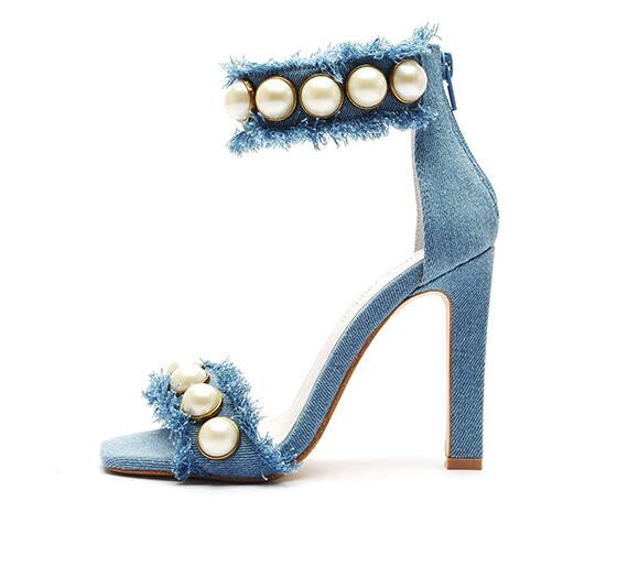 Denim and Pearls High Heel Sandals