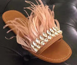 Feathers and Diamonds Leather Slippers