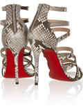 Cross-Tied Genuine Leather Snakeskin Gladiator Heels