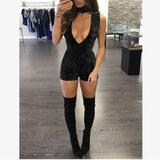 Velvet Deep V-Neck Rompers