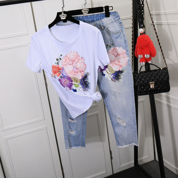 Floral Embroidery Cotton Tee + Jeans Sets