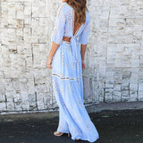 3/4 Sleeve Blue Crop Top and Maxi Skirt Set