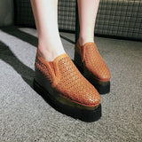 Woven Magic Genuine Leather Double Wedge Loafers