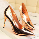 Patent Leather Retro Stone Pattern Pointed Toe Pumps