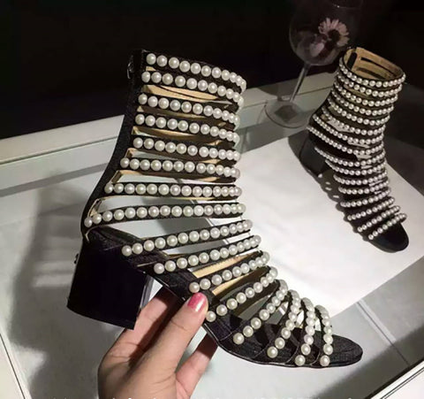 0b31be763f17 Roman Style Genuine Leather All Pearls Gladiator Ankle Sandals
