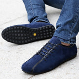 Lightweight Slip Resistant Nubuck Genuine Leather Foldable Lace Ups