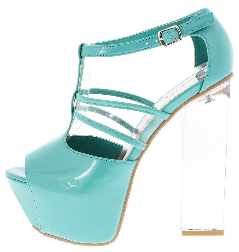 MINT BLUE PATENT CLEAR LUCITE HEEL PLATFORMS – THULI NYC