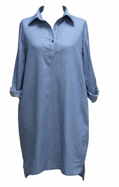 Casual Split Denim Shift Dress