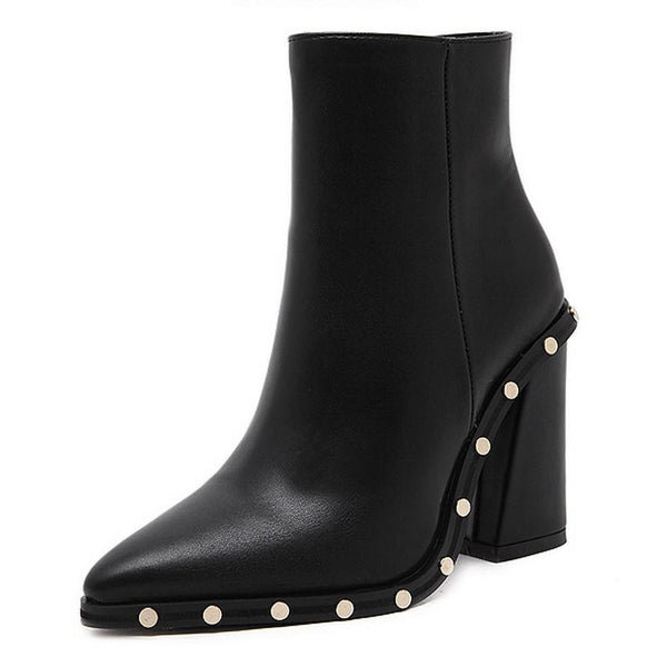 Studded Rivets Block Heel Ankle Boots
