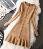 Long Sleeve Suede Bodycon Slim Pencil Dress
