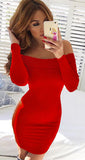 Long Sleeve Off Shoulder Bodycon Mini Dress