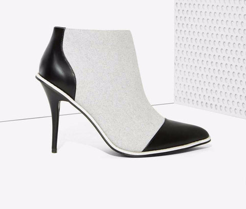 Black & Gray Pointed Toe Ankle Boots