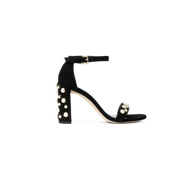 eaefb069fc Suede and Pearls Studded Ankle Strap Block Heel Sandals – THULI NYC