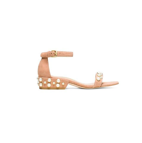 Suede and Pearls Studded Ankle Strap Flats
